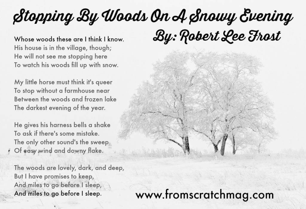 """the influence in the writing of stopping by woods on a snowy evening by robert frost In """"stopping by woods on a snowy evening,"""" robert frost contemplates death the setting symbolizes death there's a """"frozen lake"""" nearby a woods filled up with snow on the """"darkest evening of the year."""