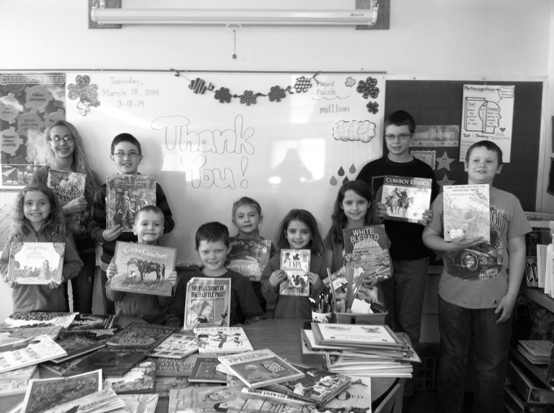 Missy's students with their favorite books.